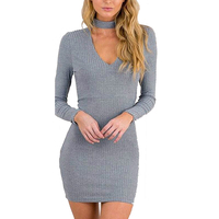 Xinbeauty Autumn Casual Dress Long Sleeve High Collar Cotton Sweater Knitted Solid Workout Party Bpdycon Mini