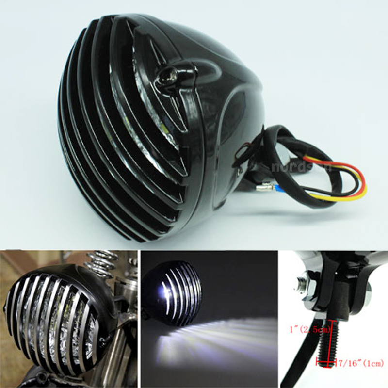 High Quality LED Grill Cover Motorcycle Headlight Brass Finned Aluminum Lamp for Harley Cafe Racer Bobber Chopper Custom Black купить недорого в Москве