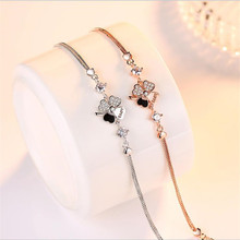 LUKENI Trendy Silver Clover Crystal Female Bracelets Jewelry Fashion Rose Gold Girl Lady Birthday Party Accessories