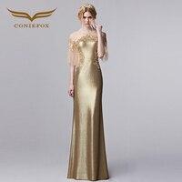 Coniefox Роскошные Половина рукава вечернее платье круглый средства ухода за кожей Шеи Аппликации золото вечернее турецкие вечерние платья 31290