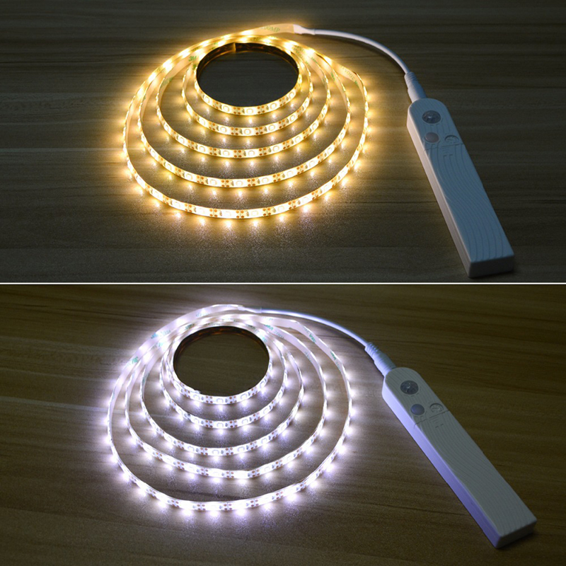 Motion Sensor Flexible <font><b>Led</b></font> <font><b>Strip</b></font> Light <font><b>Battery</b></font> Power <font><b>Operated</b></font> Bed Light Rope Light Kit Tape Stair Night Step Lights For Bedroom image