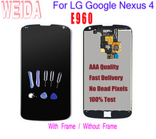 цена на WEIDA 4.7For LG Google Nexus 4 e960 LCD Touch Digitizer Screen Assembly with Frame For LG E960