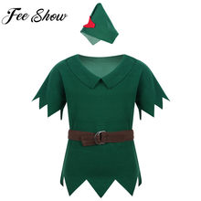 2019 Felt Dress Up Costume Pretend Play Halloween Kids Fancy Cartoon Cosplay Clothing Boys Outfit T-shirt Tops & Hat Belt Suit(China)