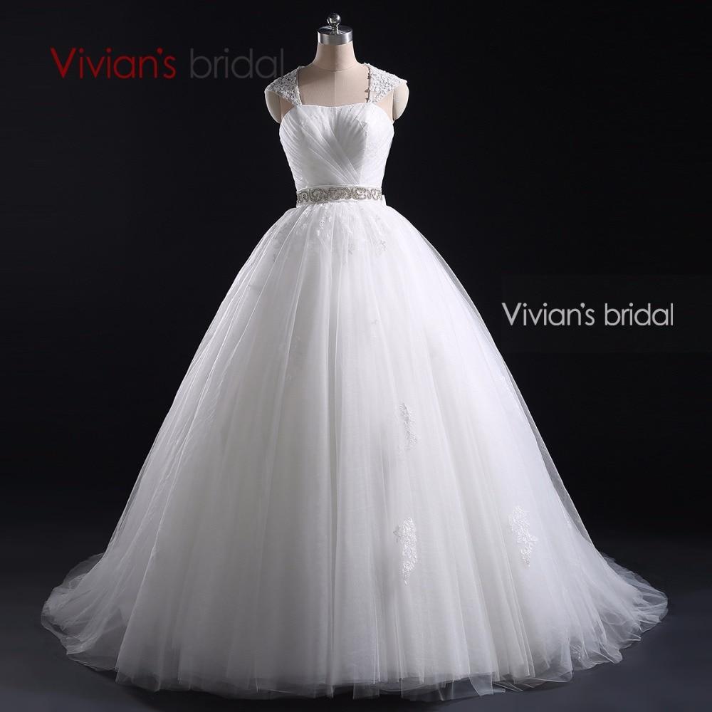 Vivian\'s Bridal White Ball Gown Cap Sleeve Detachable Strap Beading ...