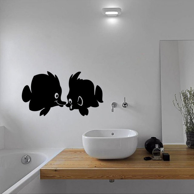 Ciuman ikan mandi bathtub wall stiker vinyl wall decals home decor toilet decal diy removable seni