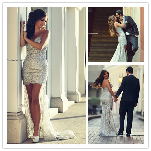 Sexy sliver sweetheart asymmetrical sweep train short sequin font b cocktail b font font b dresses