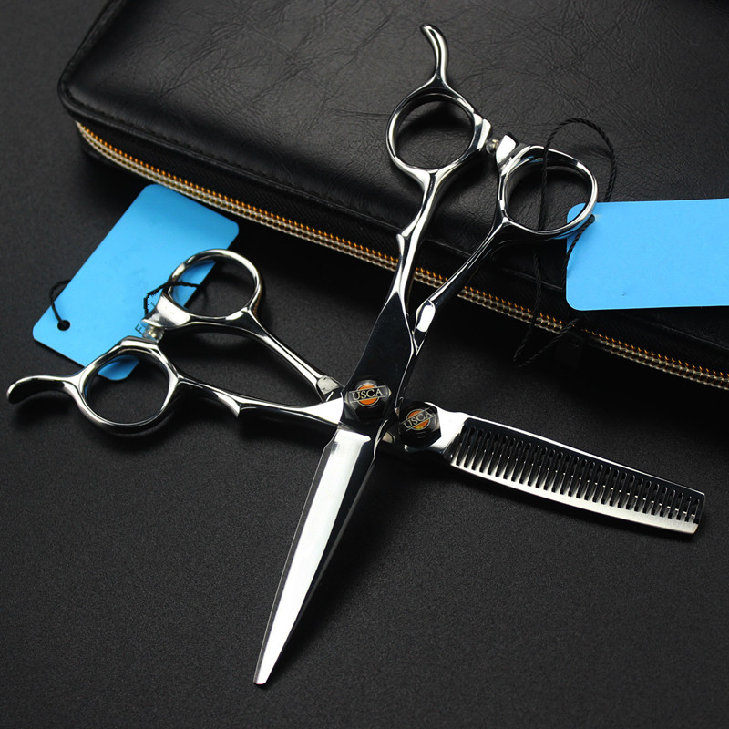 Professional Japan 440c 6 Inch Silver Hair Scissors Cutting Barber Makas Make Up Haircut Thinning Shears Hairdressing Scissors