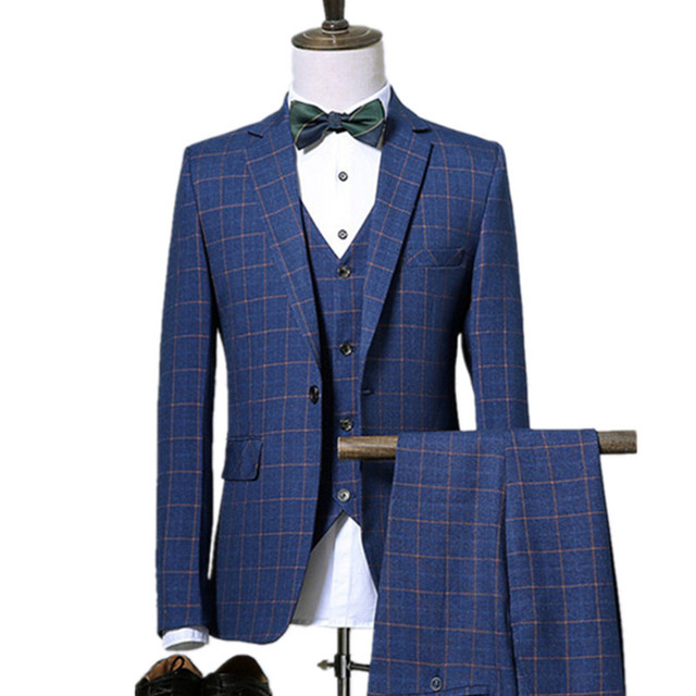Business Plaid 3 Piece Suit Jacket Coat Trousers