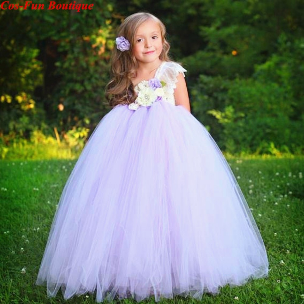 Princess Fields Of Lavender Tutu Dress Baby Toddler Girl Flower Elegant Beach Wedding Dress With Headwear Birthday Party Dress