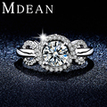 MDEAN Round Women Wedding Rings White Gold plated Jewelry Engagement rings AAA zircon Bague For Women bijoux accessories MSR305