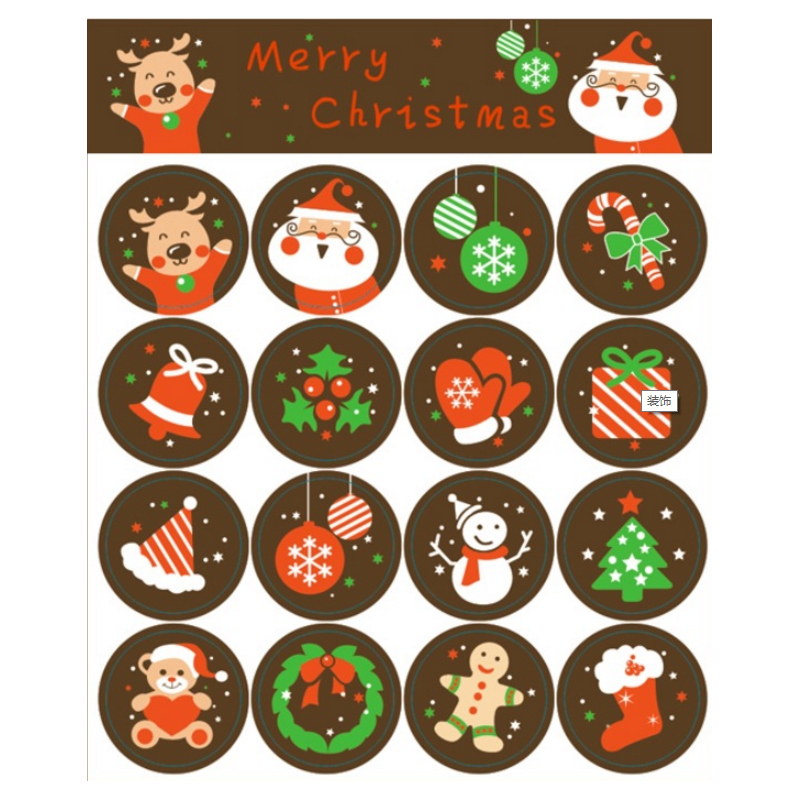 160pcs/lot Merry Christmas Santa Claus Deer Decorative round self-adhesive sealing stickers Gift Stationery Sticker santa claus walking in the snow pattern stair stickers