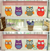 Fashion Cotton Linen Cartoon Cute Colorful Owl Design Short Curtain For Decoration Cotton Linen Curtains For