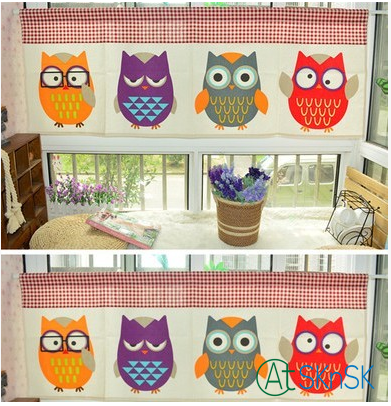 Fashion cotton linen cartoon cute colorful owl design short curtain for decoration cotton linen curtains for kitchen bedroom