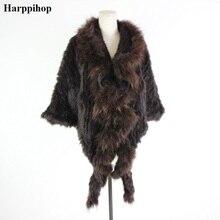 Настоящий вязаный кролик шаль пончо палантин с кисточками Болеро накидка халат палантин накидка с енотовым меховым воротником для женщин