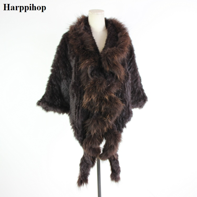 Real Knitted Rabbit Shawl Poncho Stole With Tassels Shrug Cape Robe Tippet Wrap With Raccoon Fur Collar Women