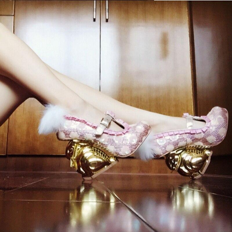 Fasionable jeune dames chic irrégulière or lapin talon chaussures boucle strap paillettes polka dot robe ornée chaussures