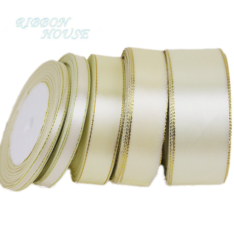 (25 ярдов/партия) кремовый белый золотой край ленты высокое качество атласные ленты подарочная упаковка ленты