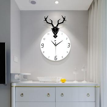 Silent Deer Wall Clock Modern Design White Unique Living Room Decoration Watch Saat Large Wall Clocks Home Decor Loft 50KO545
