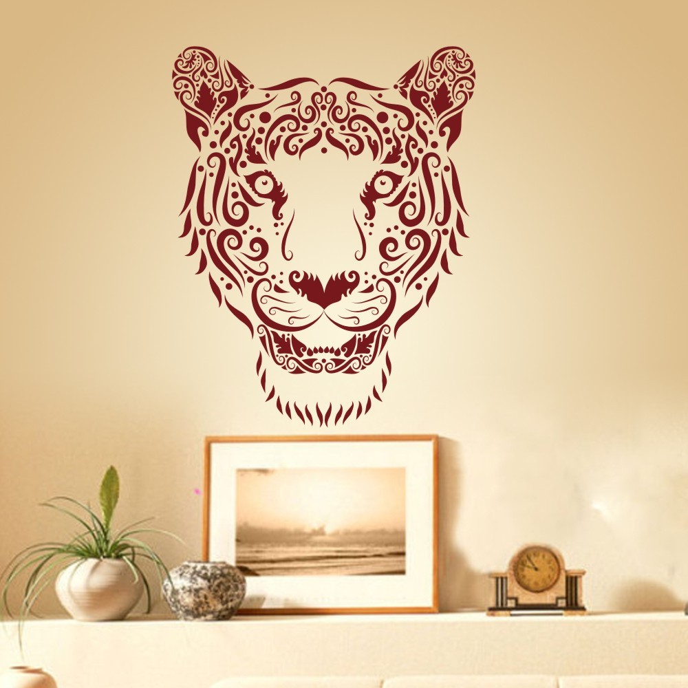 Large Tiger Face home decoration Vinyl Wall Decal Livingroom Wall ...