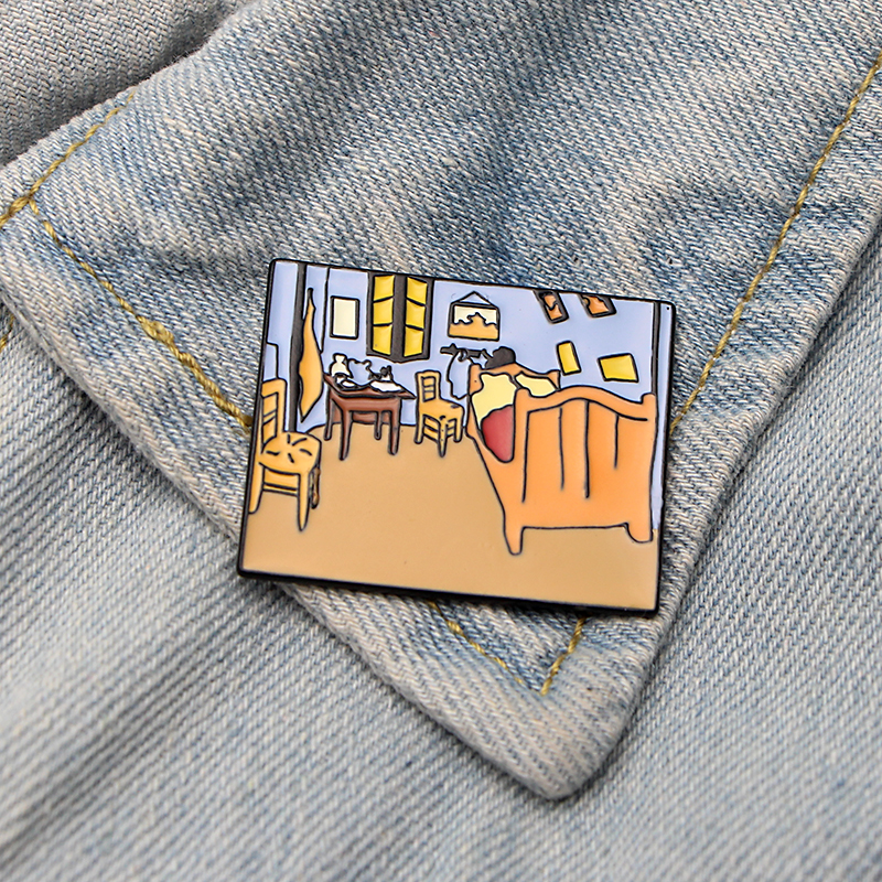 DMLSKY Van Gogh bedroom Brooch Cartoon Enamel Pins For Women Men Backpack Personality Kids Pin Charm Jewelry M3302