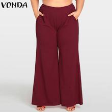VONDA Elegant Women Pants 2018 Summer Autumn Ladies Casual Wide Leg Pants Loose High Waist Solid