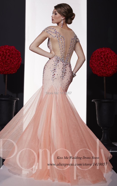 Brillant Sage Coral Vestido de noche largo cristales strass 2015 ...