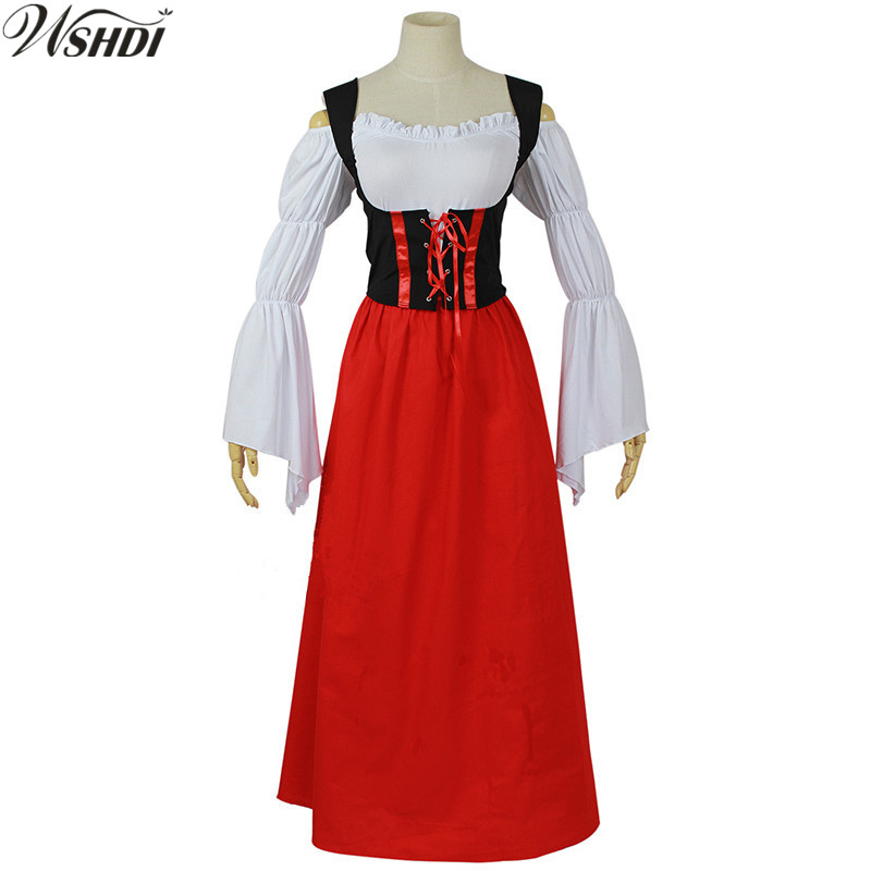 Hot Sale Medieval Gothic Dress Women Beer Festival Costume Red Disfraces Carnaval Party Halloween Party Fancy Long Dress