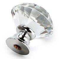 12 stücke diamant förmigen kristall glas griff  30mm schublade griff transparent|Türgriffe|   -