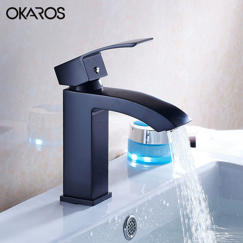 OKAROS Bathroom Basin Faucet Bathroom Faucet Brass Chrome Plated Black Baked Single Handle Vessel Sink Hot Cold Water Tap Mixer bathroom basin faucet heighten solid brass chrome black baked single handle vessel sink hot and cold water tap mixers