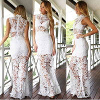 New Design Fashion Long Organza Dress Maxi Spring Autumn Women Lace Dress Vestidos De Party Dress
