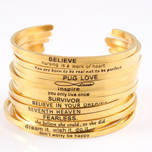 купить Wholesale 316L Stainless Steel Engraved Positive Inspirational Quote Cuff bracelet Women's Jewelry Gold Mantra Bangle по цене 1336.49 рублей