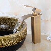 Waterfall Faucet Antique Bronze Bathroom Basin Faucet Brass Faucet Hot and Cold bathroom Sink Mixer Taps Lavatory Mixer