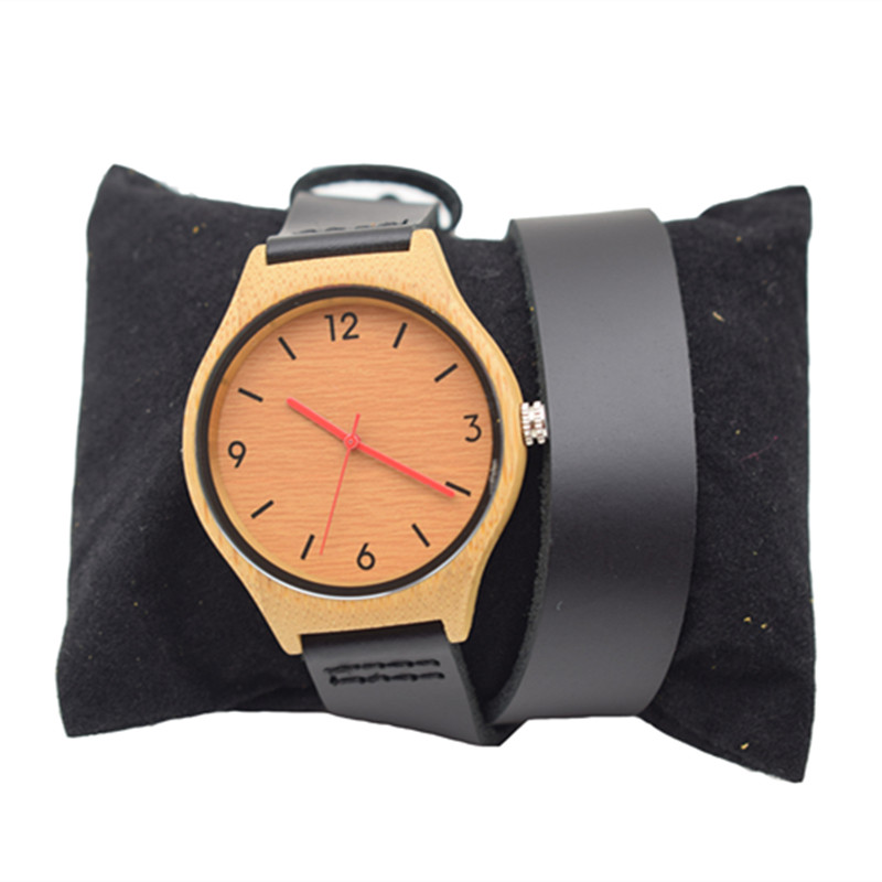 Bamboo Watch For Relogio Feminino	 With Black Long Leather Straps Birthday Gifts In Idea Paper Box relogio feminino just for us