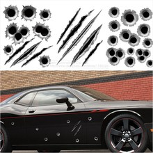 Funny Car Sticker 3D Bullet Hole Car Styling Accessories, Motorcycle Simulation Scratch Decal, Waterproof Stickers