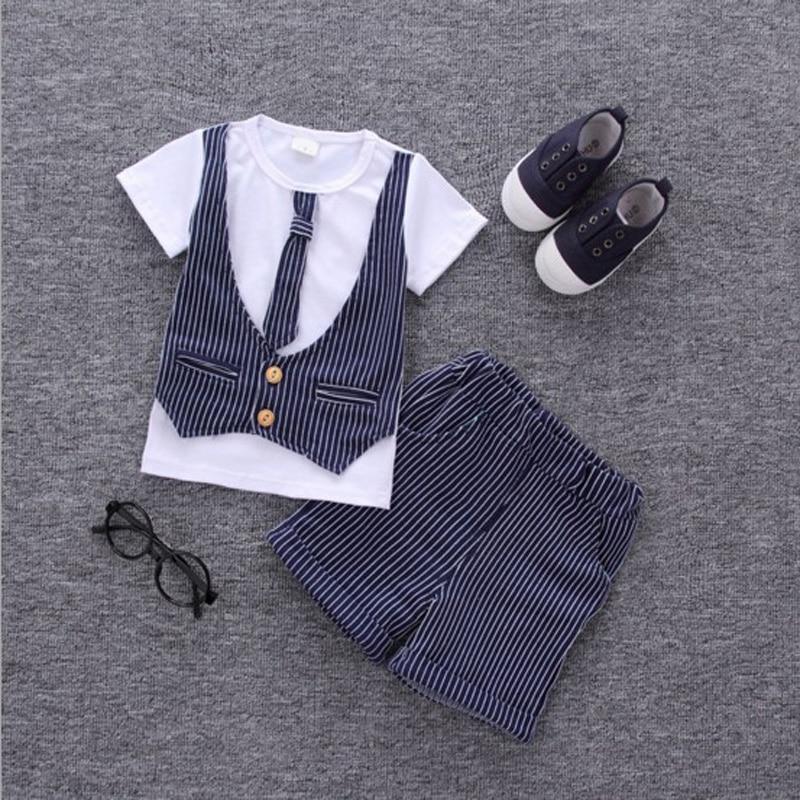 2017 Hot Boys summer clothes sets children letter T-shirt pants kids handsome suits