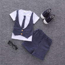 2019 Hot Boys summer clothes sets children bowtie necktie T shirt pants 2pc suit kids handsome