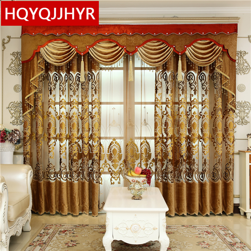 European Top Royal Luxury Villa Curtains For Living Room With High Quality Classic Voile Curtain For Bedroom /Kitchen /Hotel