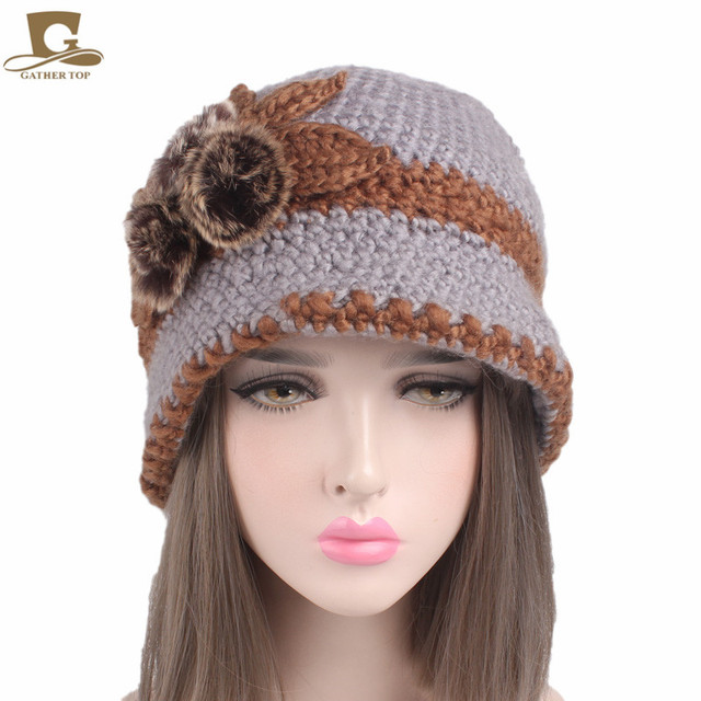 Winter frauen häkeln eimer hut stricken Cloche cap mit drei haar ...
