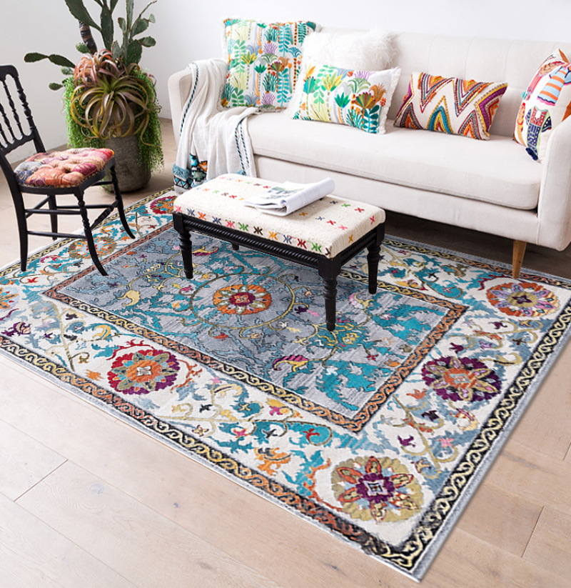 Morocco Style Anti-Skid Jacquard Carpet For Living Room Floor Mat Floral Absorbent Non-Slip Bohemian Turkish Retro Area Rugs