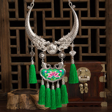 necklaces & pendants Bohemia Tassels Embroidery necklace Retro Ethnic exaggeration Miao silver Two dragons Collar