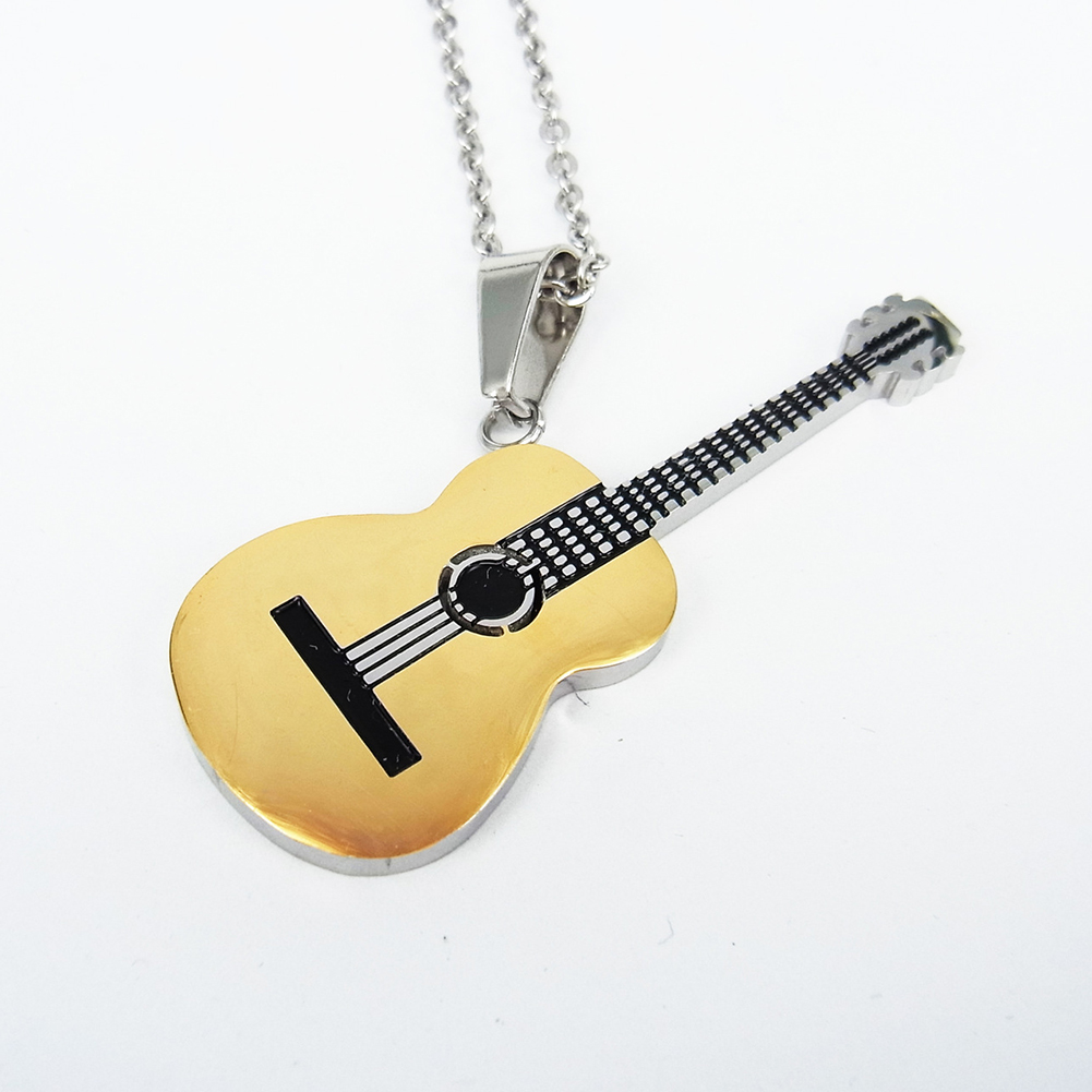 Men Small Pendant HIP Rock Two Tone Gold Color Titanium Stainless Steel Music Guitar Pendant DIY Necklace for Male Jewelry