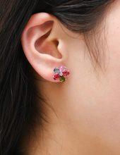 USTAR AAA Zircon Colors Flower Crystals Stud Earring for Women Rose gold color Fashion Jewelry Earrings female Ear brincos