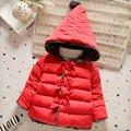 Ropa de bebé niña otoño invierno del cabrito coreano con capucha chaquetas de la capa del algodón caliente grueso bowknot puro prendas de vestir exteriores de los niños infant clothing