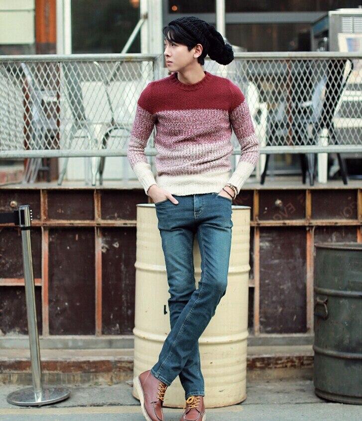 Градиент цвета с круглым вырезом пуловер, свитер для мужчин зимний тренд Свободные Винтаж термальность мужская одежда мужские свитера пуловер для мужчин - Цвет: m82 red