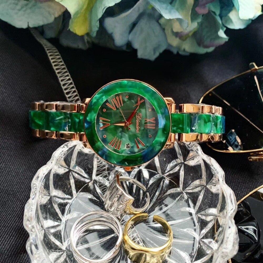 Brand Classic Floral Resin Bracelet Watches For Women Neutral Designer Summer Fashion Green Dress Wristwatch Calendar Waterproof