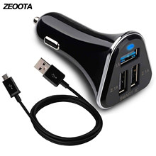 USB Car Charger 3 USB Port USB Fast Quick 3.0 Charger Adapter 5.2A with Micro USB Cable for Samsung,LG,HTC,IPhone Huawei,Xiaomi(China)