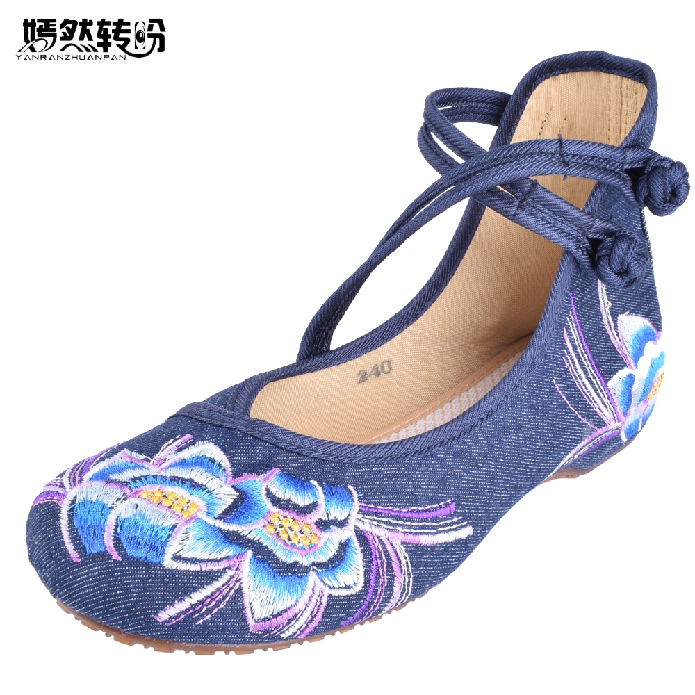 Women Flats Spring Shoes Chinese Casual Flat For Woman Flower Embroidered Mary Janes Walking Dance Ballet Shoes Plus Size 41 chinese women flats shoes flowers casual embroidery soft sole cloth dance ballet flat shoes woman breathable zapatos mujer