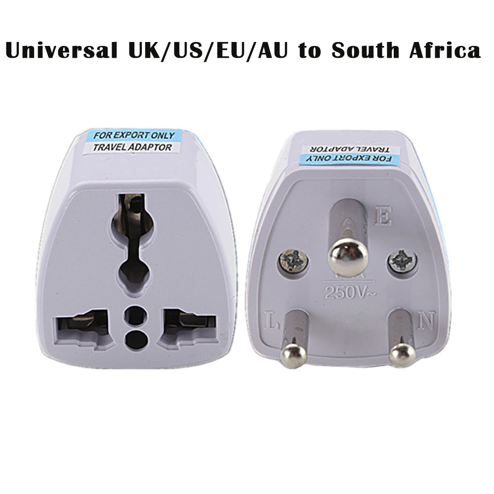 Del Universal UK/US/EU/AU to South Africa 3 pin Travel Power Adapter Plug TD1026 Dropship