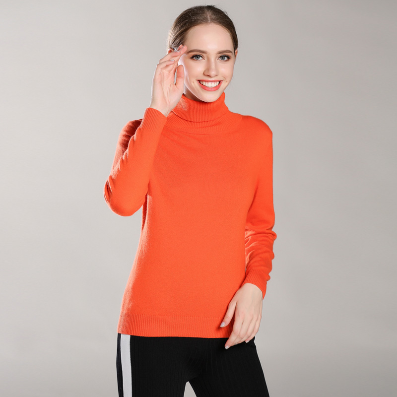 Colors Women 100% Cashmere Turtleneck Pullover Swater Women's Solid Rib Collar Sweaters Knit Top Female Jumper 2019 Explosions-in Pullovers from Women's Clothing    3
