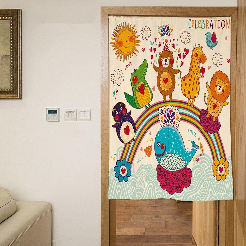 Custom Size Polyester 3D Door Curtains Cartoon Zoo Pattern